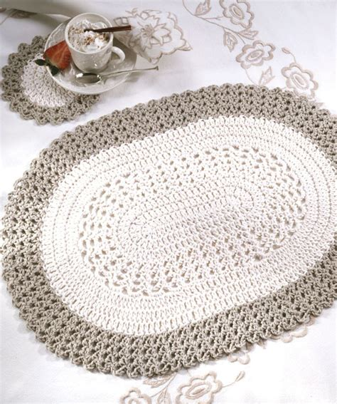 Free Pattern Crochet Rug by Oval Placemat Coaster Crochet Pattern Free