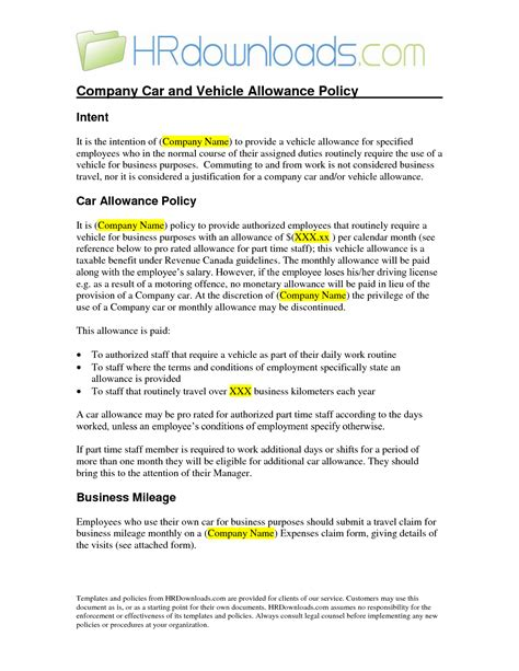 best photos of car allowance policy templates company