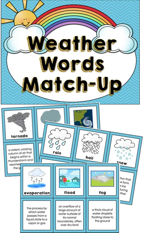 theme definition for elementary students weather vocabulary matching cards 21 weather terms with