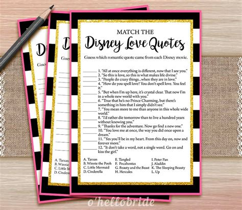 printable love games disney love quotes match game printable black and white pink