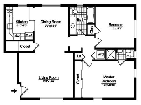 2 Bed 2 Bath House Plans by 2 Bedroom House Plans Free Two Bedroom Floor Plans