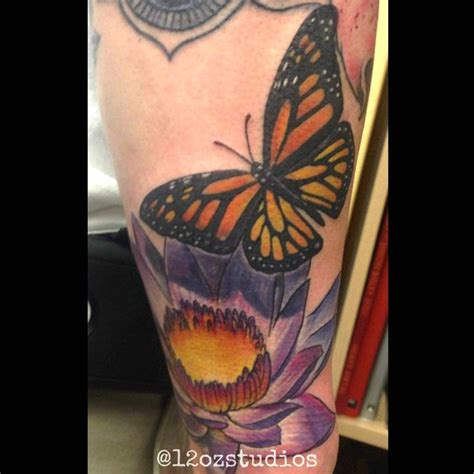 pinterest tattoo water beautiful full color monarch butterfly and water lily