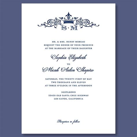 Royal Invitation Letter Exle Crown Monogram Wedding Invitation Crown Monogram Wedding Invitation Kate Middleton Prince