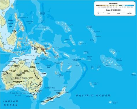 physical map of oceania oceania vector maps as digital file purchase