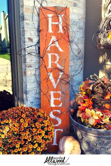 harvest decorations for the home harvest sign on barnwood for fall front porch decor home