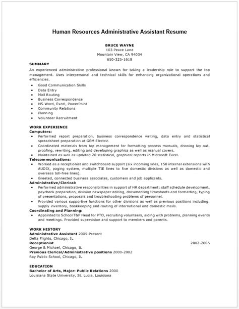 Human Resources Assistant Resume by Human Resources Assistant Resume Exles Exles Of