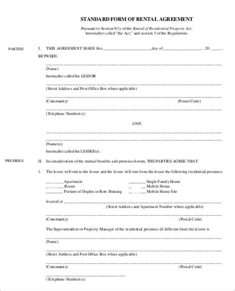 standard agreement template doc 7911024 standard rental agreement free rental