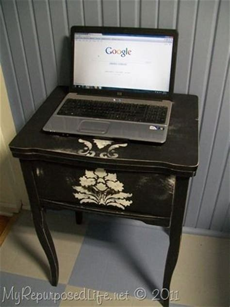Repurposed Computer Desk Repurposed Sewing Machine Table Into Side Table Or Laptop Computer Table There Is Storage For