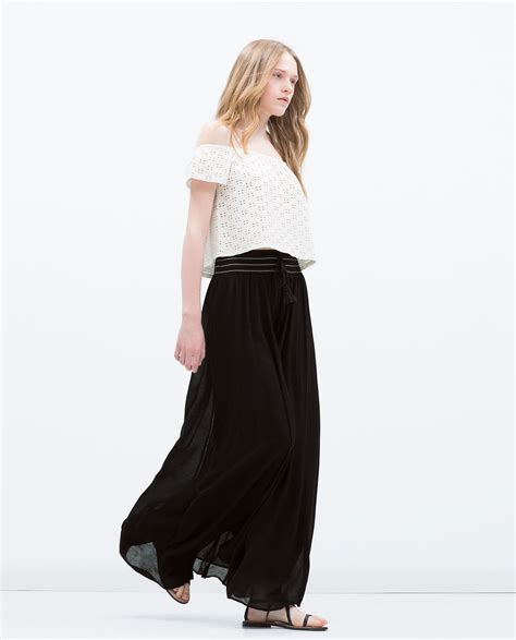Zara Tassel Original zara black flowing boho maxi skirt with elastic waist