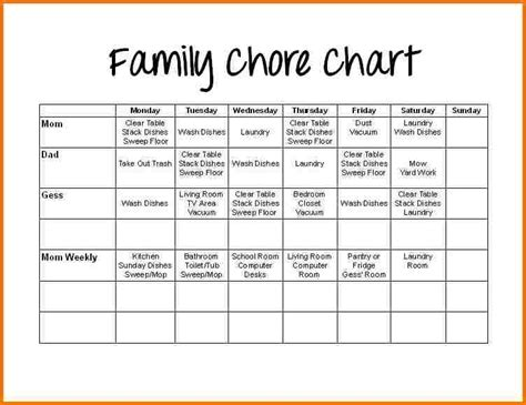 family chore chart template authorization letter pdf