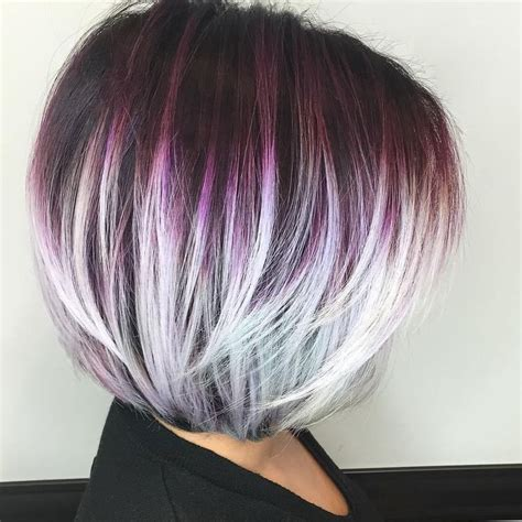 short hairstyles with peekaboo purple layer 1000 ideas about layered bob haircuts on pinterest