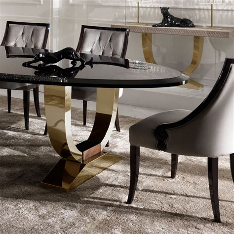 Dining Table Luxury Italian Black Lacquered Gold Oval Dining Set Juliettes Interiors