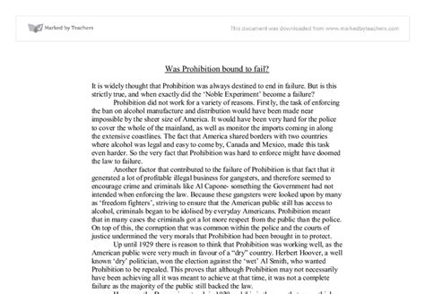 Prohibition History Essay by Failure Of Prohibition Essay
