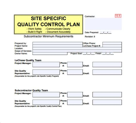 contractor quality plan template quality plan template 7 free word pdf