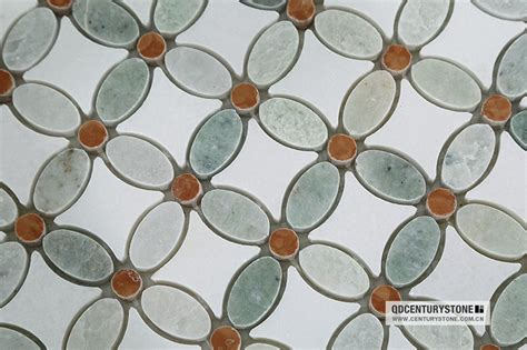flower design floor tiles wholesale greece thassos white and green marble mosaic