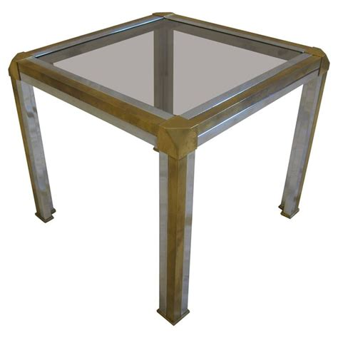 Glass And Chrome Side Table Italian Brass Chrome And Glass Side Table For Sale At 1stdibs