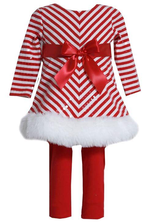bonnie jean girls stripe santa christmas holiday dress