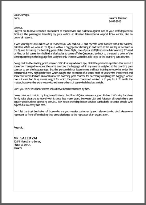 Complaint Letter To Airline Sle How To Write A Complaint Letter To Qatar Airways Corporate Hissingkitty
