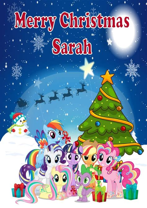 little printable christmas cards personalised my little pony christmas card