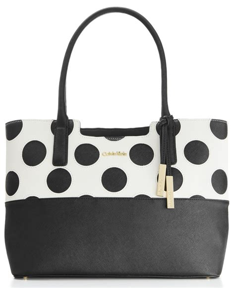 7886 Black White Tote Bag lyst calvin klein polka dot saffiano tote in black