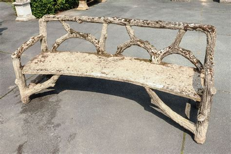 cement outdoor benches curved french faux bois cement garden bench at 1stdibs