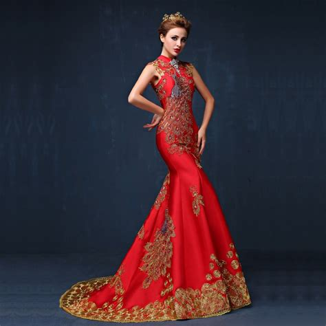 cocktail dress for bride malaysia 2016 luxury red embroidered chinese evening dress long