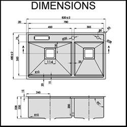 Kitchen Sink Capacity Swedia Stainless Steel Kitchen Sink Undermount 1 5mm Square Waste With Strainer