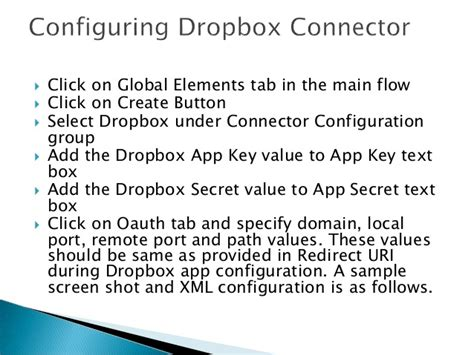 dropbox valuation integration with dropbox using mule esb