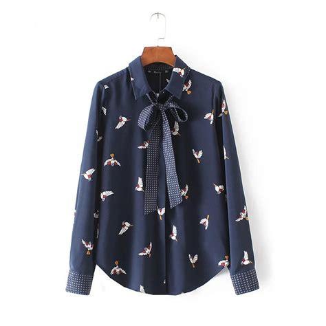 Grateful Blouse Ladsey Navy l9247 fashion navy blue color birds print knot deco sleeve shirt blouse