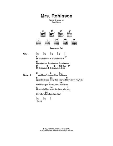 guitar tutorial mrs robinson mrs robinson sheet music by simon garfunkel lyrics