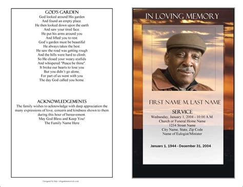 Free Memorial Card Templates For Mac by Free Funeral Program Template 2010