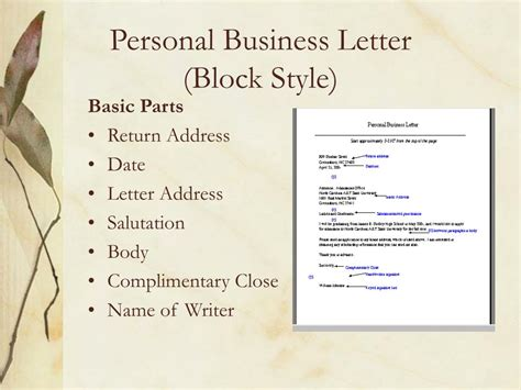 what is a personal business letter letters power point presentation