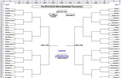Excel Spreadsheets Help 2014 March Madness Brackets In Excel Excel Bracket Template
