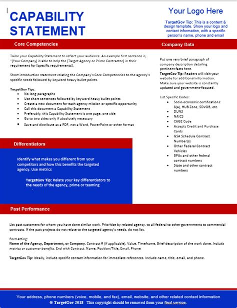 Targetgov Capability Statement Editable Template Targetgov Capability Statement Template Word