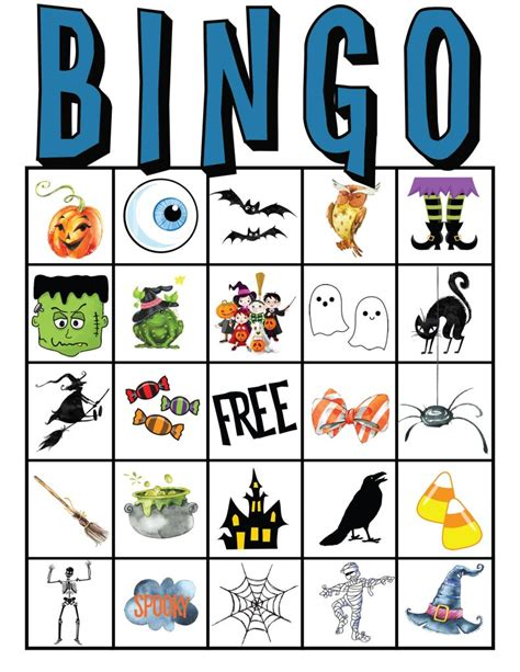 printable halloween bingo cards with pictures kids halloween party bingo cards free printable