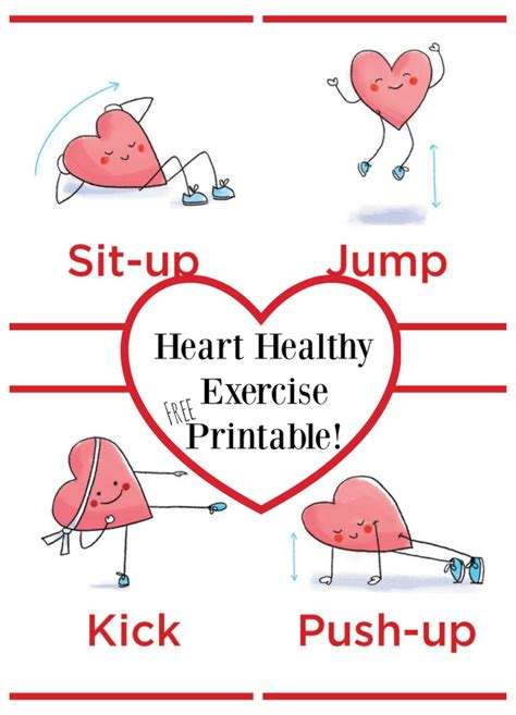 printable heart poster heart healthy exercise printable free make and takes
