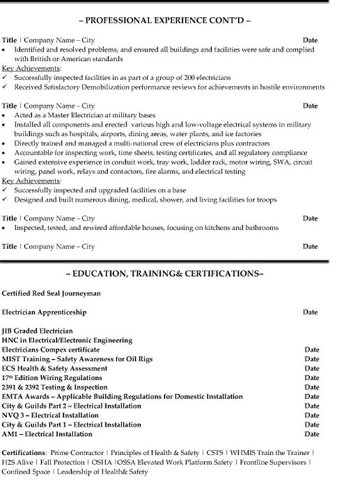 Resume Exles For Electrical Technician Senior Electrician Resume Sle Template