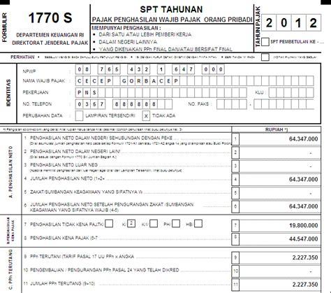 spt pph 21 tahunan 2015 contoh pengisian spt tahunan pph orang pribadi tahun pajak