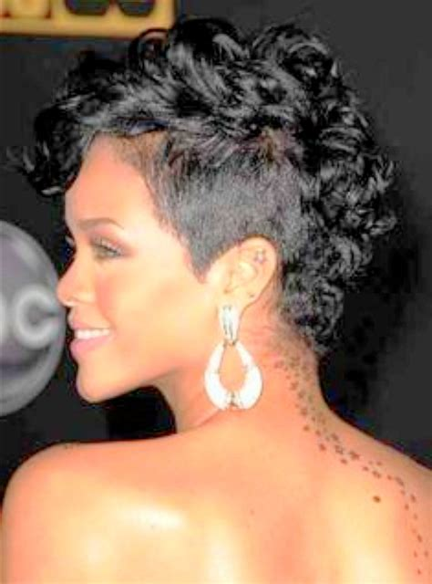 mohawk hairstyles for curly hair rihanna short curly