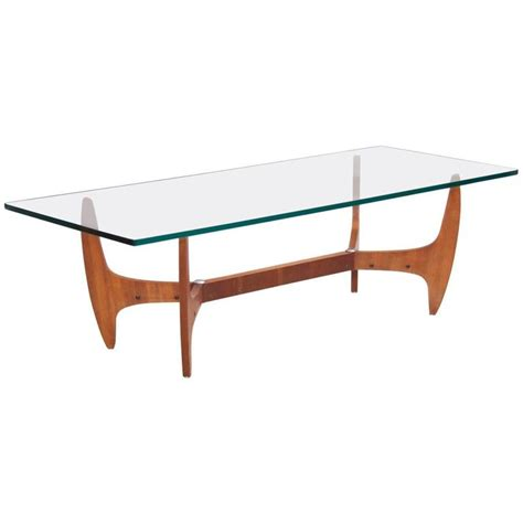 large midcentury coffee table with thick glass