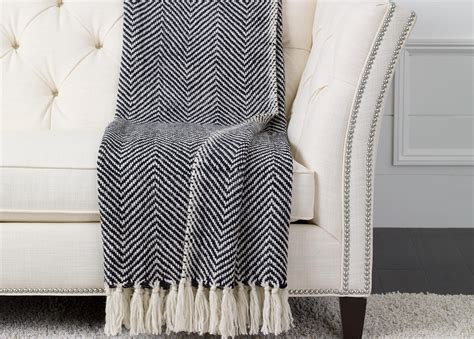 black knitted throw herringbone knit throw black white throws