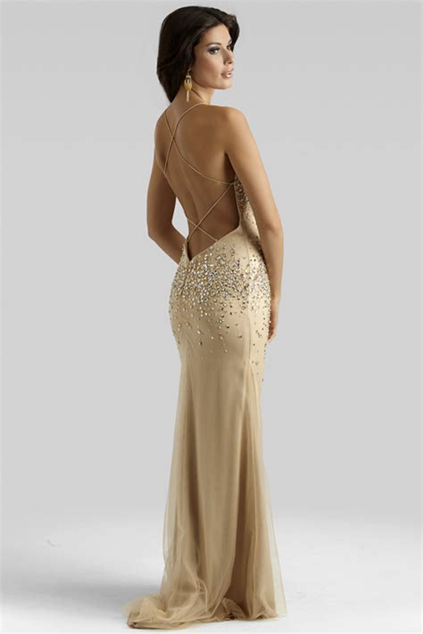 clarisse 2014 chagne gold beaded prom dress