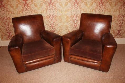 art deco leather armchair good pair of art deco leather armchairs antiques atlas
