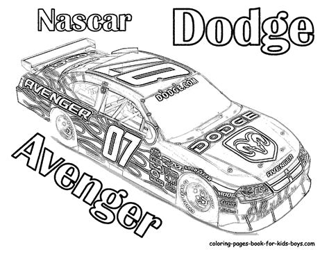 coloring pages of nascar race cars race car coloring pages of nascar dodge avenger 07