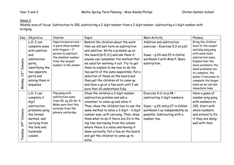 lesson plan template year 3 maths lesson plan subtraction by cassieevans86 teaching