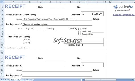 receipt templates excel receipt templates for excel screenshot