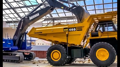 rc dump truck action construction site  rc glashaus youtube