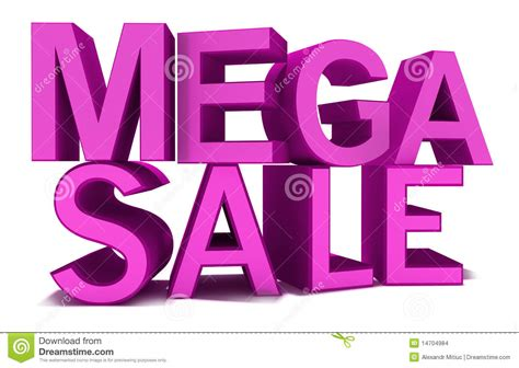 The Of The Sale mega sale isolated on white pink words stock illustration