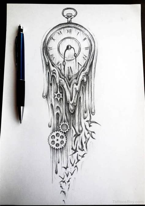 tattoo sketch clock tattoos designs pictures page 9