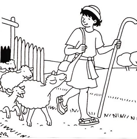 free coloring pages of david and his sheep